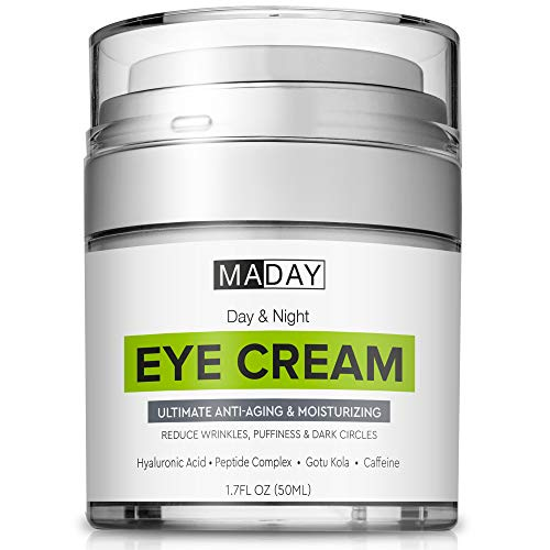 Eye Cream – Reduce Dark Circles, Puffiness & Under Eye Bags – Effective Anti-Wrinkles Treatment – Anti-Aging Eye Gel with Hyaluronic Acid, Gotu Kola Extract, Caffeine – Refreshing Eye Serum