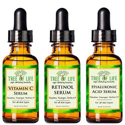 Anti Aging Serum 3-Pack for Face – Vitamin C Serum, Retinol Serum, Hyaluronic Acid Serum – Face Serum Full Regimen
