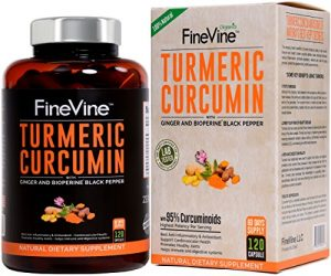 Turmeric Curcumin with BioPerine Black Pepper and Ginger – Made in USA – 120 Vegetarian Capsules for Advanced Absorption, Cardiovascular Health, Joints Support and Anti Aging Supplement (120 Capsules)