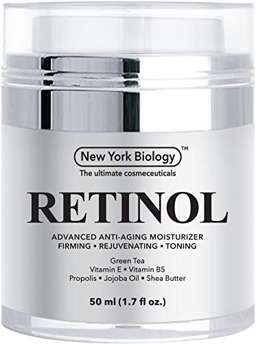 New York Biology Retinol Cream Moisturizer for Face and Eye Area – Anti Aging Infused with Vitamin A and E for Fine Lines and Wrinkles – 1.7 oz