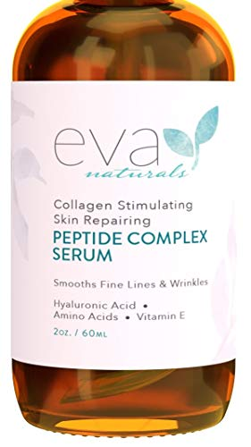 Peptide Complex Serum by Eva Naturals (2 oz) – Best Anti-Aging Face Serum Reduces Wrinkles and Boosts Collagen – Heals and Repairs Skin while Improving Tone and Texture – Hyaluronic Acid & Vitamin E