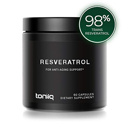 Ultra High Purity Resveratrol Capsules – 98% Trans-Resveratrol – Support for Anti Aging – 60 Caps Reservatrol Supplement