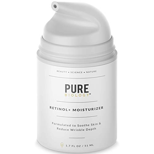 Pure Biology Premium Retinol Cream Face Moisturizer with Hyaluronic Acid, Vitamins B + C & Anti Aging Wrinkle Complexes for Men & Women, 1.7 oz