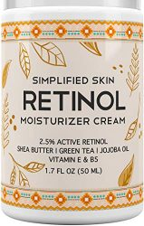 Retinol Moisturizer Cream 2.5% for Face & Eye Area with Vitamin E & Hyaluronic Acid for Anti Aging, Wrinkles & Acne – Best Night & Day Facial Cream by Simplified Skin 1.7 oz