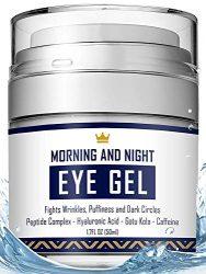 Eye Cream – Dark Circles & Under Eye Bags Treatment – Reduce Puffiness, Wrinkles – Effective Anti-Aging Eye Gel with Hyaluronic Acid, Gotu Kola Extract and Caffeine – Refreshing Serum 1.7oz