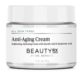 BeautyRx by Dr. Schultz Premium Anti Aging Face Cream for Fine Lines, Wrinkles & Dark Spots with 5% Glycolic & Hyaluronic Acid. Best Brightening Facial Night Moisturizer for Women & Men 1.7 oz