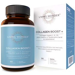 Collagen Boost Plus – Collagen Pills for Women -180 Collagen Capsules with Vitamin C, Hyaluronic Acid, Resveratrol – Multi-Collagen Type 1,2,3 – Anti-Aging Supplement for Skin, Hair, Nails