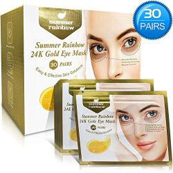 30 Pairs under eye patches, Summer Rainbow eye mask, Under Eye Bags Treatment, Dark Circles Under Eye Treatment, 24K Gold Eye Treatment Masks Anti-Aging for Reducing Dark Circles Puffiness Wrinkles.