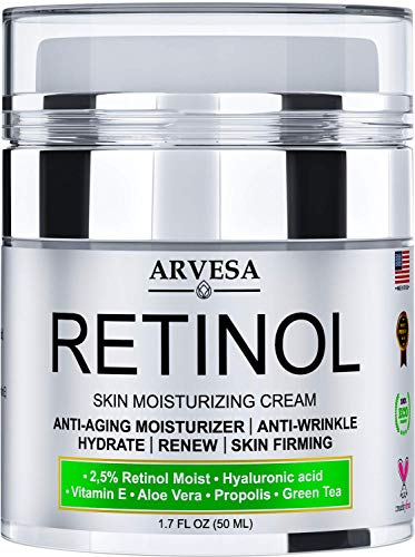 NEW 2020 Retinol Moisturizer Cream for Face and Eye Area – Made in USA – with Hyaluronic Acid – Active Retinol 2.5% – Anti Aging Face Cream to Reduce Wrinkles & Fine Lines – Best Day and Night