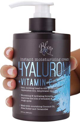 Bloom Hyaluronic Acid Cream for Body, Face, and Hands. Anti-aging cream With Coconut Oil, Vitamin E, Aloe Vera and Shea Butter. Large 15oz jar with pump.
