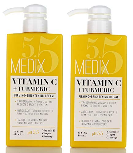 Medix 5.5 Vitamin C Cream w/Turmeric for face and body. Firming & brightening cream for age spots, dark spots & sun damaged skin. Anti-Aging Cream Infused w/Vitamin E, Ginger, Ginseng. (Two – 15oz)