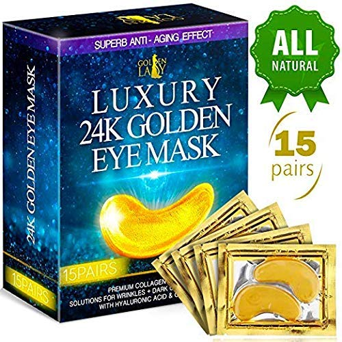 Luxury Under Eye Patches – 24K Gold Eye Mask Anti-Aging Hyaluronic Acid – Under Eye Mask for Reducing Dark Circles & Puffy Eyes (15 PAIRS) – Under Eye Bags Treatment