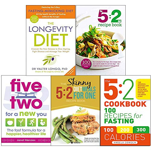 Longevity diet, 5 2 diet recipe book, five two for a new you, 5 2 diet meals for one and 5 2 cookbook 5 books collection set