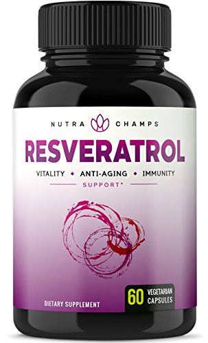 Resveratrol Supplement 1200mg – Extra Strength Formula for Maximum Anti Aging, Immune & Heart Health – 60 Vegan Capsules with Trans-Resveratrol, Green Tea Leaf, Acai Berry & Grape Seed Extract