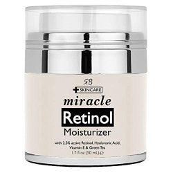 Radha Beauty Retinol Moisturizer Miracle Cream for Face – with Retinol, Hyaluronic Acid, Vitamin E and Green Tea. Best Night and Day Moisturizing Cream 1.7 fl oz.