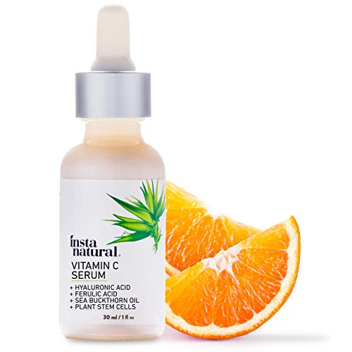 InstaNatural Vitamin C Serum with Hyaluronic Acid & Vit E – Natural & Organic Anti Wrinkle Reducer Formula for Face – Dark Circle, Fine Line & Sun Damage Corrector – Restore & Boost Collagen – 1 oz
