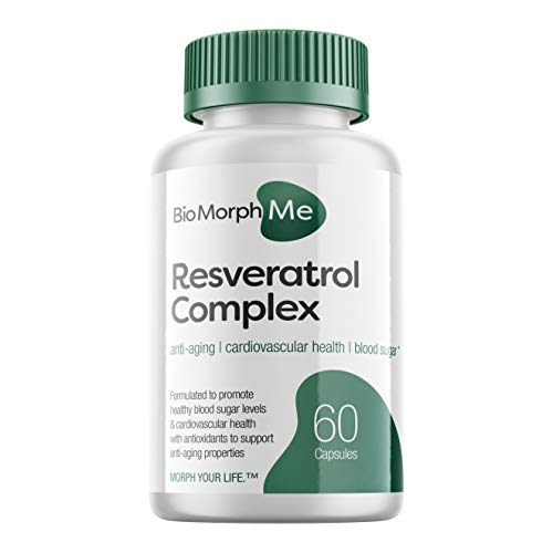 Resveratrol Supplement Complex – 600mg Formula with Trans Resveratrol – Promotes Anti-Aging, Cardiovascular Health and Blood Sugar Support – 60 Veggie Capsules