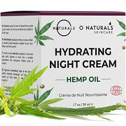O Naturals Organic Hydrating Repairing Hemp Oil Night Cream. Anti-Aging Face & Neck Moisturizer. Prevents Dry Cracked Skin, Wrinkles, Soothes Inflammation Boosts Collagen Omega 3 Hyaluronic Acid 1.7oz