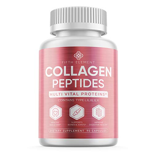 Collagen Peptides Collagen Pills – Anti-Aging, Healthy Hair, Skin & Nails – Multi Collagen Supplements Powder Capsules (Type I, II, III, V, X) – Hydrolysate, Hydrolyzed Marine Super