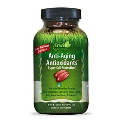 Irwin Naturals Anti-Aging Antioxidants – Free Radical Defense with Glutathione, Grape Seed Extract & Coffee Berry – 60 Liquid Softgels