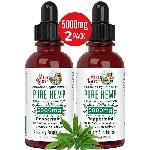 (2 Pack) Organic Pure Hemp Oil Extract 5000mg by MaryRuth's for Pain & Stress Relief – Powerful for Ingestible & Topical Use – Non-GMO – Vegan – Plant Based – Sugar-Free – Peppermint – 1 oz (2 Pack)