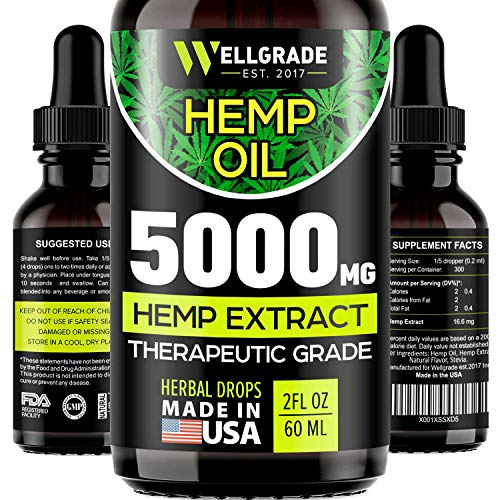 Hemp Oil for Anxiety Relief – 5000 MG – Premium Seed Grade – Natural Hemp Oil for Better Sleep, Mood & Stress – Improve Health – Vitamins & Fatty Acids – Made in The USA