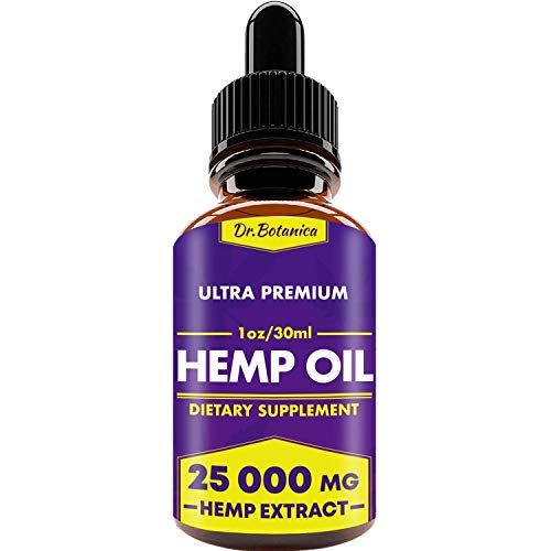25 000 MG – Hemp Oil Drops – 100% Pure Natural Ingredients – Co2 Extracted – Anti-inflammatory – Help Reduce Stress, Anxiety and Pain – Vegan Friendly