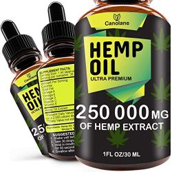 Hemp Oil Drops, 250 000 mg, Natural CO2 Extracted, 100% Organic, Pain, Stress, Anxiety Relief, Reduce Insomnia, Vegan Friendly, Zero CBD, Zero THC