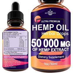 Hemp Oil Drops 50 000 mg, Co2 Extracted, Help Cope With Stress, Anxiety and Pain, 100% Natural Ingredients, Vegan Friendly, GMO Free, Made in USA