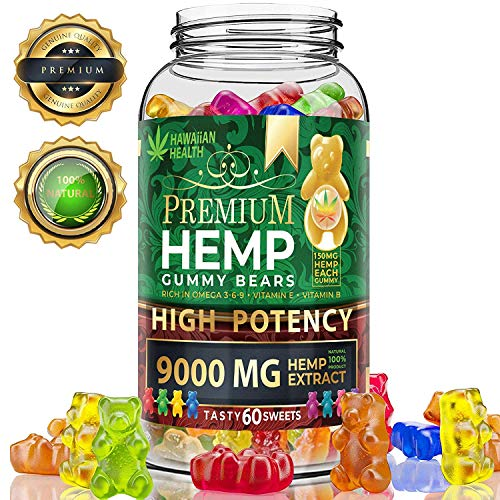 Hemp Gummies Premium 9000MG High Potency – 150 Per Fruity Gummy Bear with Hemp Oil | Natural Hemp Candy Supplements for Pain, Anxiety, Stress & Inflammation Relief | Promotes Sleep & Calm Mood