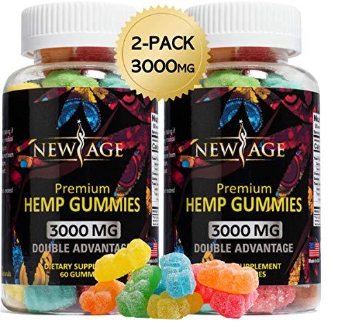 (2 Pack) New Age Naturals Advanced Hemp Big Gummies 3000mg 120ct – 100% Natural Hemp Oil Infused Gummies