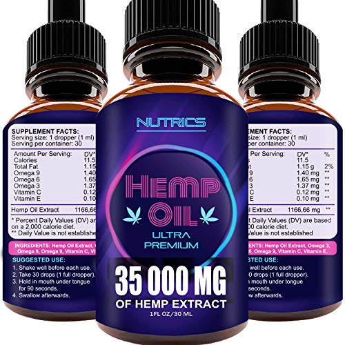 Hemp Oil 35 000 MG, 100% Hemp Extract, Natural Dietary Supplement, Supports Anti-Anxiety and Stress Health, Rich in Omega 3 and 6 Fatty Acids for Skin & Hair Health, Vegan Friendly