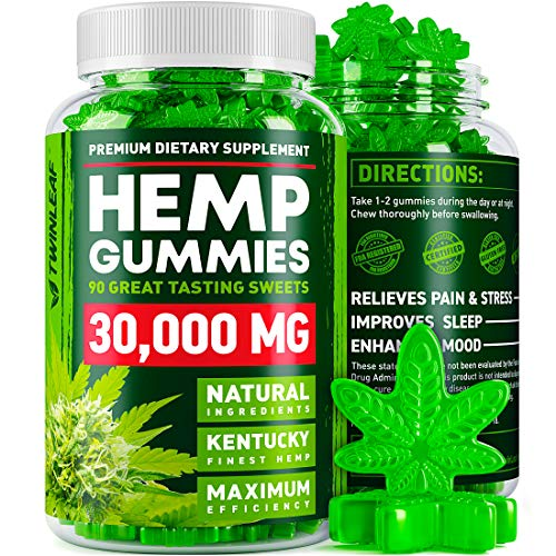 Hemp Gummies – 30000 MG – Premium Stress & Anxiety Relief – Made in USA – 100% Natural & Safe Oil Gummies – Mood Enhancer & Immune Support – Rich in Vitamins B, E & Omega 3 – 90 PCS