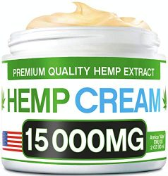 Hemp Pain Relief Cream – 15 000 MG – Natural Hemp Extract Relieves Inflammation, Knee, Muscle, Joint & Back Pain – Contains Arnica, MSM & EMU Oil – Non-GMO – Made in USA