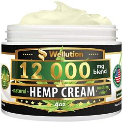 Hemp Cream – 12000 mg / 4 oz – Natural Seed Oil Extract for Knee, Lower Back, Foot, Muscle, Wrist and Joint Pain Relief – Extra Strength Massage Lotion with Arnica, Menthol and Organic Oils