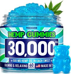 Hemp Gummies 30000 MG – 500 MG Hemp per Gummy, 60 Sweets – Made in USA – Natural Anxiety & Stress Relief – Premium Hemp & Coconut Synergy – Mood & Immunity Support – Ideal Omega 3, 6, 9 Source