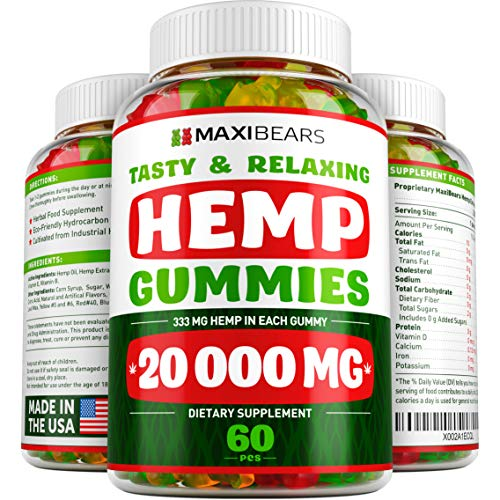 Hemp Gummies – 20000 MG – 333 MG per Gummy – Pain, Stress, Insomnia & Anxiety Relief – Made in USA – Tasty & Relaxing Herbal Gummies – Premium Extract – Mood & Immune Support