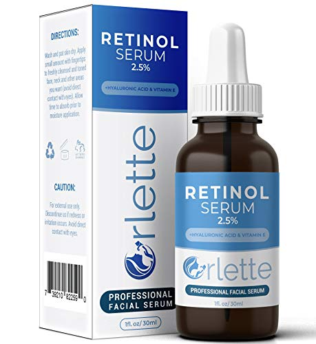 Orlette Retinol Serum 2.5% – Professional Grade Skincare – Vitamin A and E, Hyaluronic Acid – Anti-Aging, Hydrating Skin and Face Moisturizer – Wrinkle, Acne Spot, Pigmentation, Blemish Remover – 30ml