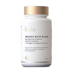 Collagen, Turmeric, Glutathione + C, E, Hyaluronic Acid, Antioxidants, Anti-Aging Skin Vitamins All-in-One | Bounce Back Blend by Leulo (60 Caps) Supplement for Women & Men | Skin Beauty Age Defying