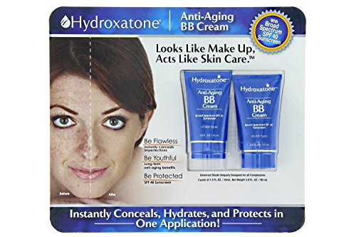 Hydroxatone Anti-Aging BB (Beauty Balm) Cream, Universal Shade for ALL Skin Types, SPF 40 (BONUS Pack of 2, 1.5 ounce bottles)