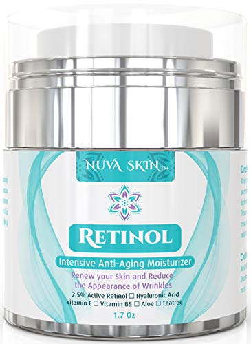 Nuva Skin Retinol Cream Moisturizer for Face and Eye Area – With Retinol, Hyaluronic Acid & Vitamin E – Anti Aging Treatment Reduces Wrinkles & Fine Lines – Gentle Day and Night Serum, 1.7 Fl Oz