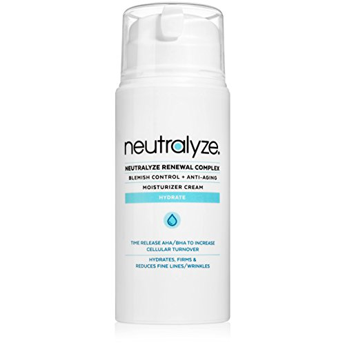 Neutralyze Renewal Complex (3.4 oz) – Maximum Strength Anti Acne + Anti Aging Moisturizer Cream With Time-Released 2% Salicylic Acid + 1% Mandelic Acid + Nitrogen Boost Skincare Technology
