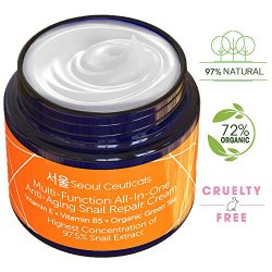 Korean Skin Care Snail Repair Cream – Korean Moisturizer Night Cream 97.5% Snail Mucin Extract – All In One Recovery Power For The Most Effective Korean Beauty Routine – 2oz