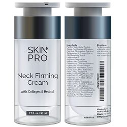 Neck Firming Cream – Anti Aging & Skin Tightening Serum by SkinPro – Age Defying – Made with Marine Collagen & Peptides – Contains Vitamin A & Retinol for Firm Skin – Paraben Free