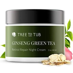 Retinol Sensitive Skin Night Cream for Face by Tree To Tub – pH 5.5 Gentle Anti Aging Night Cream with Hyaluronic Acid, Ginseng and Green Tea. Wake Up to Moisturized Dewy Glowing Skin 2 oz