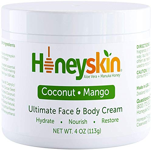 Organic Face and Body Cream Moisturizer – with Raw Manuka Honey, Shea Butter and Aloe Vera – Eczema, Acne, Redness and Dry Skin Treatment – Anti Aging and Wrinkles – Natural Coconut Mango Scent (4oz)