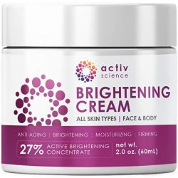 ACTIVSCIENCE Whitening Cream – Powerful Skin Lightening Cream for Face & Body. Dark Spot, Melasma & Hyperpigmentation Treatment. 2 fl oz.