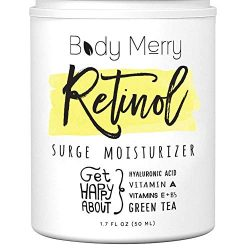 Body Merry Retinol Moisturizer Anti Aging/Wrinkle & Acne Face Moisturizer Cream w Hyaluronic Acid + Vitamins; Deep Hydration for Men & Women! 1.7 oz