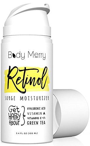 Body Merry Retinol Moisturizer Anti Aging/Wrinkle & Acne Face Moisturizer Cream w Hyaluronic Acid + Vitamins; Deep Hydration for Men & Women! 3.4 oz