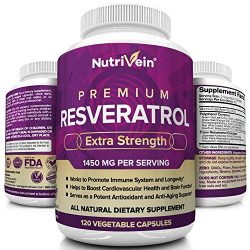 Nutrivein Resveratrol 1450mg – Anti Aging Antioxidant Supplement 120 Capsules – Promotes Immune, Cardiovascular Health and Blood Sugar Support – Made with Trans-Resveratrol, Green Tea Leaf, Acai Berry